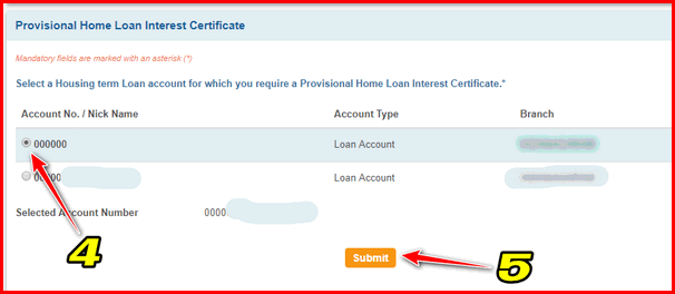 How to Download Loan interest certificate in SBI step 4