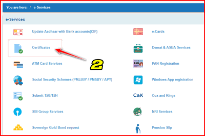 How to Download Loan interest certificate in SBI step 2
