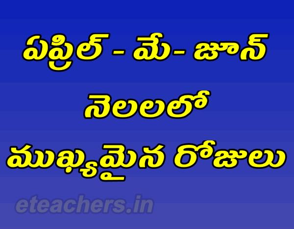 important days in April-May-June in Telugu